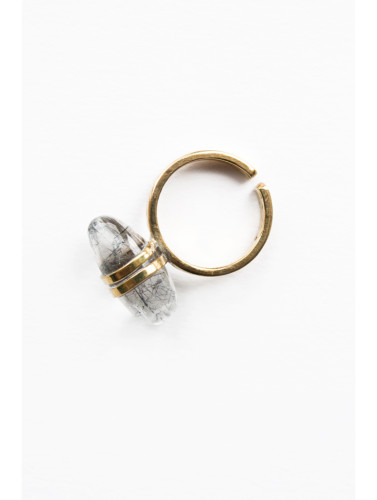 tourmalinated quartz clear ring